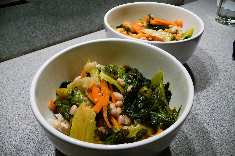 Escarole, beans and carrots